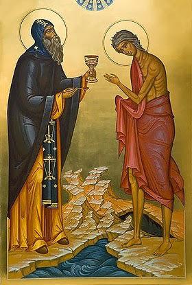 Ο άγιος Ζωσιμάς μεταλαβαίνει την αγία Μαρία την Αιγυπτία, τη μεγάλη δασκάλα της αλλαγής της ζωής.